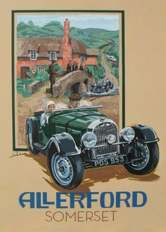 Morgan Flat Radiator, Allerford,  Vintage Style Travel Poster by © Dennis Simon This poster is available at centuryofspeed.com