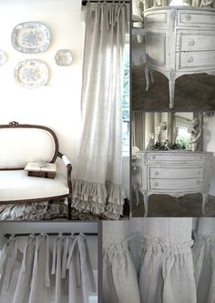 Oh so lovely ruffled linen curtains an French vintage furniture!