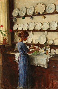 William Henry Margetson - The Lady of the House. #classic #art #painting