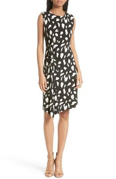 Free shipping and returns on BOSS Enavia Twist Front Print Sheath Dress at Nordstrom.com. A twisted knot at the hip and an asymmetrically draped hem create a modern (and slimming) silhouette for a stretch-crepe dress in a playful yet sophisticated black-and-white print.