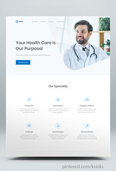 Medical & Healthcare Landing Page HTML Template. Clean and modern medical template. It can be used to promote your services, It has some features which will help you make your project stand out from the crowd. Landing Page Html, Landing Page Design, Medical Design, Healthcare Design, Healthcare Website, Medical Sites, Website Layout, Website Ideas, Website Design Inspiration
