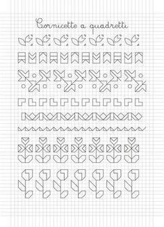 Cornicette e disegni a quadretti Blackwork Patterns, Zentangle Patterns, Cross Stitch Patterns, Graph Paper Art, Blackwork Cross Stitch, Blackwork Embroidery, Embroidery Motifs, Baby Drawing, Alphabet