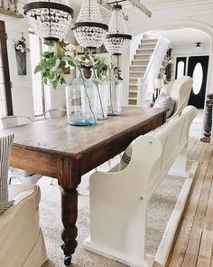 Beautiful Modern Farmhouse Dining Room Decor Ideas – Home Decor Ideas Farmhouse Dining Room Table, Dining Rooms, Dining Chairs, Dining Room With Bench, Beige Dining Room, French Country Dining Table, Antique Dining Tables, Dining Decor, Home Decor