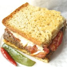 """Oven-Grilled Meatloaf Sandwich - How about a hot meatloaf-bacon-cheese sandwich on fresh, homemade bread, oven """"grilled"""" until the bread is crunchy, the meat hot, and the cheese melted? Now THAT'S comfort food!"""