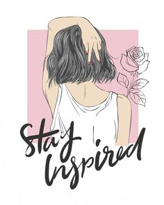 Slogan With Girl Illustration