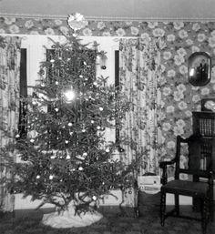 vintage photo 1940s Christmas Tree Wild Flowered by maclancy, $7.50