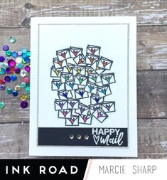 Rainbow Happy Mail masking with Marcie - The Ink Road Bow Image, Small Envelopes, Glitter Cardstock, Small Heart, Happy Mail, Copic Markers, Masking, My Stamp, Silver Glitter
