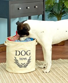 Keep your pet's playthings out from underfoot with this Dog Toy Storage Bucket. The soft-sided design makes it easy to move around and even travel with. Has handles on the sides for easy carrying. Collapsible for storage when not in use.