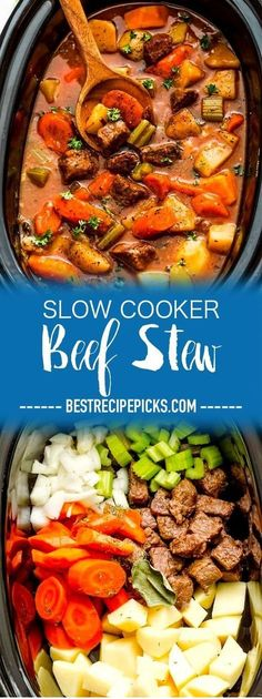 Slow Cooker Beef Stew Homemade Makes The Perfect Comforting Dish On A Cold Day. The best part is that This Recipe Is Easy To Make And Simmers In The Crock-Pot For The Most Tender Meat With Carrots, Potatoes, Sweet Potatoes And Celery. Meat And Potatoes Recipes, Easy Meat Recipes, Easy Meals, Beginner Recipes, Sauce Recipes, Slow Cooker Beef, Slow Cooker Recipes, Crockpot Recipes, Homemade Beef Stew