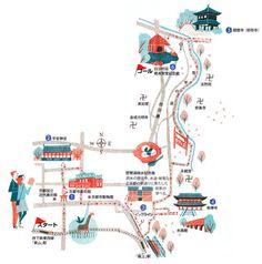 Kyoto map by masako kubo Travel Illustration, Graphic Illustration, Map Illustrations, Kyoto Map, Map Design, Travel Design, Plan Ville, Walking Map, Mental Map