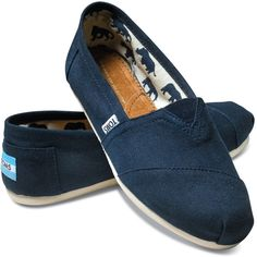 TOMS Classic Canvas Navy Slip-On Women 5.5 ❤ liked on Polyvore