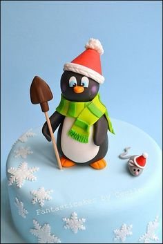 Too bad there isn't a lot of snow this year to get into the mood for this cake! Christmas Cake Designs, Christmas Cake Topper, Christmas Cake Decorations, Holiday Cakes, Cupcakes, Cake Cookies, Cupcake Cakes, Cupcake Toppers, Christmas Baking