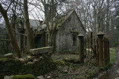 Entrance Gatehouse ruin deep in the forests of Aberdeenshire, Scotland Haddo Mansion, Inverkeithny, Scotland
