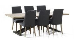 This modern 9 piece dining is featured with a blonde timber table top, supported by black metal cross bar legs including 8 linen chairs Fabric Dining Chairs, Chair Fabric, Dining Table Chairs, Dining Room Furniture, Dining Suites, Lounge Suites, Value Furniture, Timber Table, Modern Dining Table