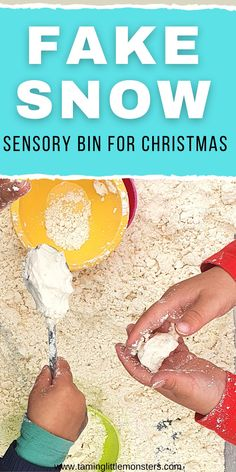 Learn how to make fake snow for a fun and easy Sensory Bin. Toddlers and preschoolers will love this sensory activity which is perfect for Christmas or Winter themed lesson plans.  #sensory #christmas #winter #toddlers #preschool