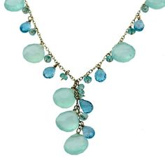 14K Gold Chalcedony Pear & Blue Topaz Beaded Drop Necklace - Fire and Ice