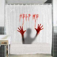 Help Me Bath Shower Curtain Bathroom Blood Horror Halloween Funny Novelty Gifts Funny Shower Curtains, Shower Curtain Sets, Bathroom Shower Curtains, Bath Shower, Bathroom Bath, Bathroom Ideas, Cheap Halloween, Halloween Gifts, Halloween Party