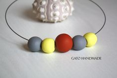 Unique outfit Unique polymer clay necklace by GATOHANDMADE on Etsy Terracotta, Polymer Clay Necklace, Casual, Trending Outfits, Unique Jewelry, Handmade Gifts, Silver, Etsy, Kid Craft Gifts