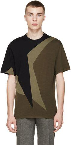 Neil Barrett Black & Olive Macro Pop Art T-Shirt