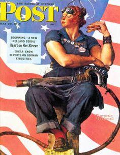 Rosie La Riveteuse - Rosie The Riveter, symbole des 6 millions de femmes américaines qui travaillèrent dans l'industrie de l'armement américaine, fournissant le matériel de guerre pendant que les hommes étaient sur les champs de bataille. A la démobilisation, elles furent priées de retourner à leurs casseroles. #Patriarcat. http://hypathie.blogspot.fr/2013/04/poil-aux-bras-levrat-recrute.html