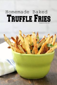 Homemade Oven-Baked Truffle Fries - easy baked french fries recipe with truffle oil, parmesan cheese, and parsley. Bake in the oven or use an air fryer! Garlic French Fries, Oven Baked French Fries, Air Fryer French Fries, Side Dish Recipes, Veggie Recipes, Appetizer Recipes, Healthy Recipes, Side Dishes, Appetizers