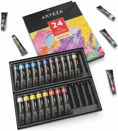 ARTEZA-Oil-Paint Watercolor Books, Watercolor Paint Set, Oil Paint Set, Paint Tubes, Custom Shades, Professional Painters, Non Toxic Paint, Best Oils, Abstract Portrait