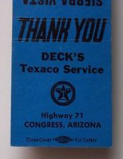 1950s Matchbook Deck's Texaco Sierra Motel Congress AZ