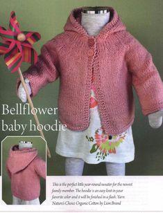 Baby and Toddle Hoodie Knitting Pattern ~ Knitting Free, Diy Abschnitt, Baby Cardigan Knitting Pattern Free, Kids Knitting Patterns, Baby Sweater Patterns, Knitted Baby Cardigan, Knit Baby Sweaters, Toddler Sweater, Knitted Baby Clothes, Baby Clothes Patterns, Knitting For Kids