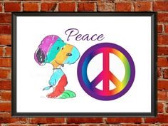 Snoopy Peace Print,nursery art,feelgood, affirmation, hippie, colorful, positive