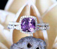 Amethyst Wedding Ring Set6mm Cushion Cut Amethyst by LeRhin