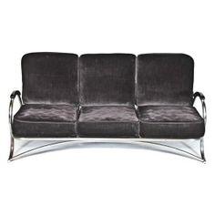 Remarkable c. 1930's machine age american art deco bent tubular chrome three-seat sofa with black upholstered seats. #artdeco #vintage #antique #chicago