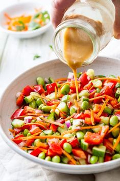 This easy Asian Edamame Salad recipe with ginger vinaigrette makes a terrific main recipe or side dish recipe. Great for lunches, read on for how else to use this simple salad! Easy Salads, Healthy Salad Recipes, Lunch Recipes, Vegetarian Recipes, Vegetarian Kids, Kid Recipes, Summer Recipes, Chicken Recipes, Xmas Recipes