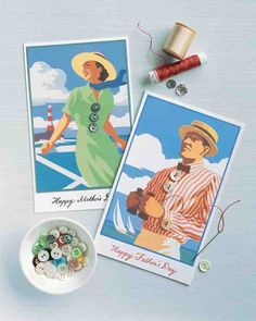 Impress Dad with a one-of-a-kind seaside card embellished with buttons. Copy our templates onto sturdy paper, and decorate them with basic sewing and a few small buttons. Print the Father's Day Seaside Card Clip Art