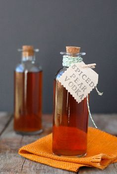 Homemade Spiced Pear Vodka; A simple pear vodka infusion with the spices of fall. Perfect for the holidays and gift giving.