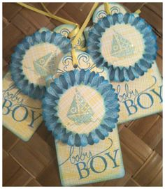 Paper Rosette New Baby Boy Handmade Gift Tags - DIY Paper Crafts for 2014 Party