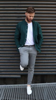 Keep it cool and casual by adding a pop of colour to a plain outfit. Color Pop, Colour, Life Cover, Finance, Bomber Jacket, Street Style, Style Inspiration, Mens Fashion, Casual