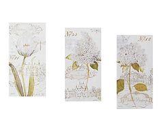 Set de 3 lienzos Flores, gris y blanco - 40x80 cm