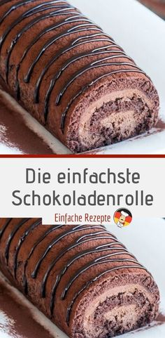 Delicious The easiest chocolate roll - HÄHNCHEN❤️ - - Lecker Die einfachste Schokoladenrolle Ingredients for the dough: 4 eggs 4 tablespoons water 120 g sugar 165 g flour for the cream: 350 ml milk 110 g sugar 1 pck. Easy Cheesecake Recipes, Easy Smoothie Recipes, Easy Cookie Recipes, Chocolate Roll, Chocolate Recipes, Naked Cakes, Pumpkin Spice Cupcakes, Fall Desserts, Ice Cream Recipes