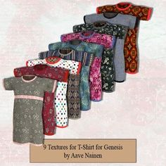 201 Textures for Aave Nainen's T-Shirt for Genesis