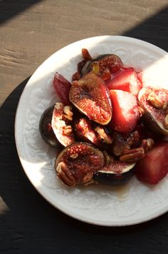 Roasted Agave Glazed Figs, Pecans and Plums