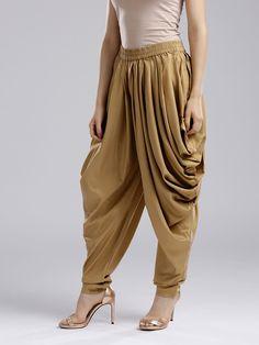 Buy Wishful By W Women Golden Dhoti Pants - Dhotis for Women 2708395 Stylish Dress Designs, Designs For Dresses, Stylish Dresses For Girls, Salwar Designs, New Kurti Designs, Blouse Designs, Indian Fashion Dresses, Indian Designer Outfits, Dhoti Salwar Suits