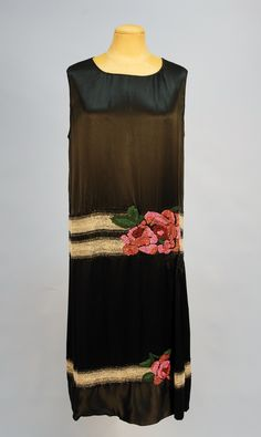 Evening Dress: 1920's, beaded silk satin.