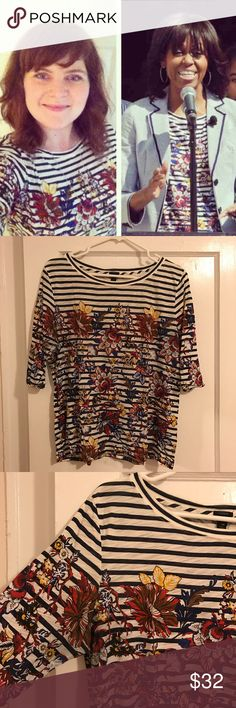 J.Crew Floral Striped Tissue Tee Size Medium There's not a better pair than stripes and florals! This shirt looks awesome with your favorite jeans or tucked into a skirt. It has some minimal discoloration in the armpits but is otherwise in great condition. Has a looser fit; could easily fit a size large! Worn by me and Michelle Obama! (She wore it better) J. Crew Tops Tees - Long Sleeve