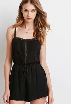 Lacy Pintucked Cami Romper | Forever 21 - 2000115561
