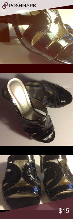 Karen Scott Mules Patent Leather Size 8 imperfect Dear Poshers, This listing is for a like new used 2x pair of Karen Scott open toe mules. They are Size 8 & have a block sturdy heel measured from back top to bottom is about 2 3/4 inches. Have slight imperfections such as slight scratches and material defect. No wear and tear on soles or bottoms as shown in photo. Will ship within 3 days.  Order today only 1 pair of these left. Karen Scott Shoes Mules & Clogs