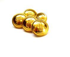 Très beau lot de 5 petits boutons ronds anciens en métal doré portant le chiffre 1 diamètre 15 mm. : Boutons par matt-et-les-petits-cadeaux