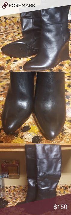 Tory Burch Wedge Boots Black Tory Burch Wedge Linnett Boots never worn, too small Tory Burch  Shoes Heeled Boots