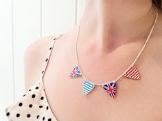 LOVE this bunting necklace - made from shrinky plastic!!  @Georgie K @Naomi Dwyer (make disney cruise)