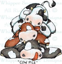 Cow Pile - Farm - Animals - Rubber Stamps - Shop