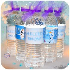 Disney FROZEN Party Water Bottle Labels - Printable These are the perfect water bottle wrappers for the Frozen lover in your family! Olaf Party, Frozen Themed Birthday Party, Disney Frozen Birthday, 3rd Birthday Parties, Frozen Party Food, Birthday Ideas, Frozen Party Favors, Summer Birthday, Olaf Birthday